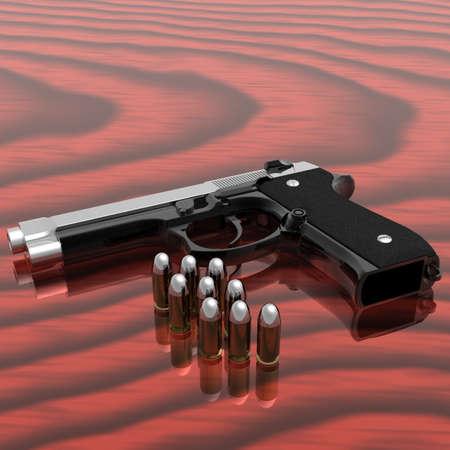 gun shell: pistola con vi�etas en la tabla  Foto de archivo
