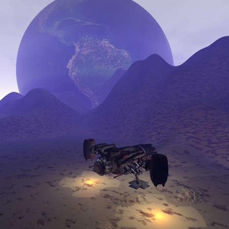 alien UFO space ship in futuristic landscape photo