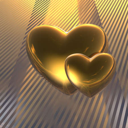 golden love hearts on a stripe background