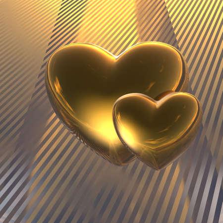 golden heart: golden love hearts on a stripe background