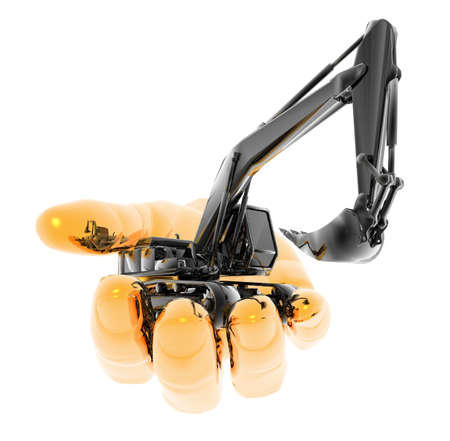 heavy excavator on the hand isolated on a white background Stock Photo