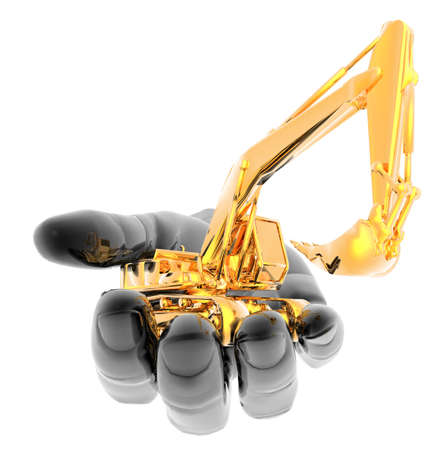 heavy excavator on the hand isolated on a white background photo