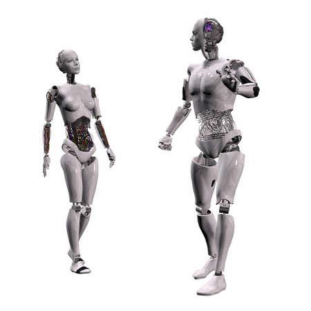 intelligence Android, cybernétiques machine en 3d  Banque d'images