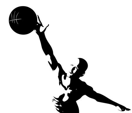 slam: cyber boy with basket ball isolated on a white background Illustration
