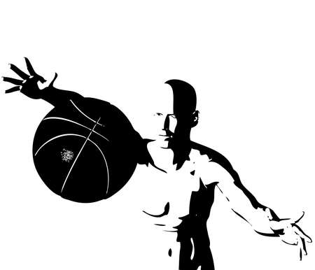 cyber boy with basket ball isolated on a white background Vector
