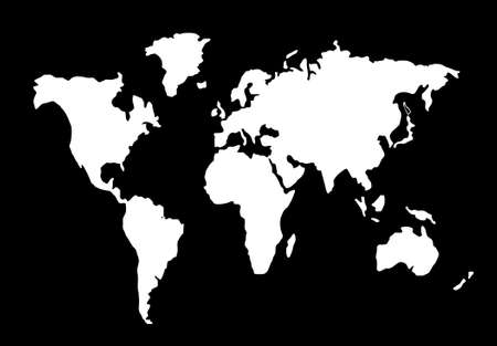 world map silhouette black and white