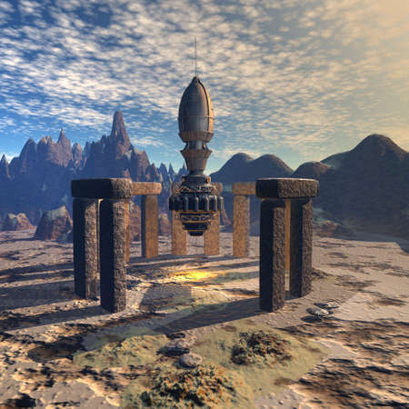 alien UFO space ship in futuristic landscape Banque d'images