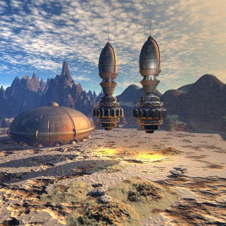 alien landscape: astronave UFO aliena nel paesaggio futuristico Archivio Fotografico