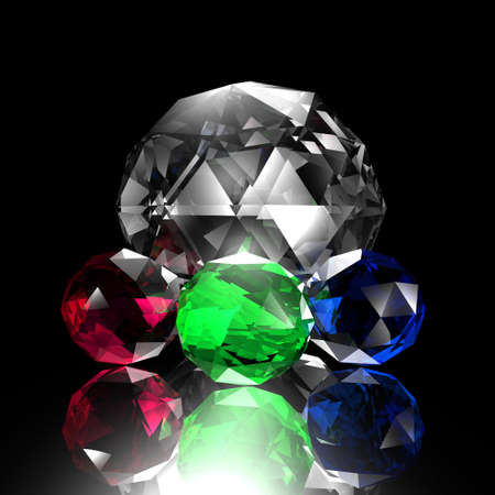 gem on a black background, render Stock Photo