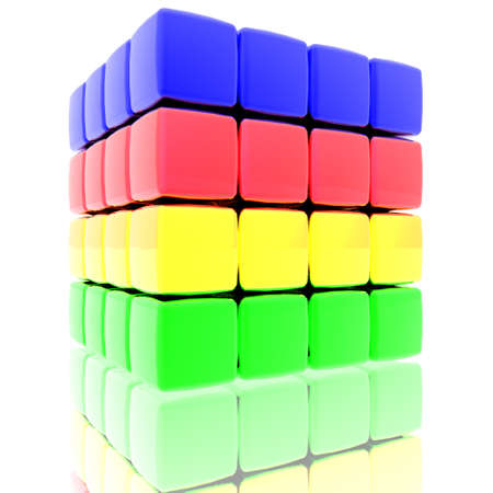 cube assembling from blocks in 3d, render photo