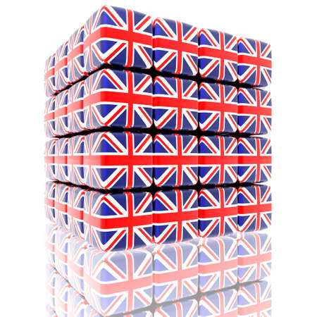 cube assembling from blocks with britain flag Stock Photo - 6579669