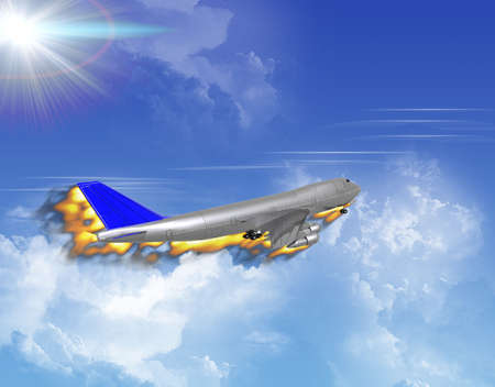 airliner in flame with a clouds in the sky