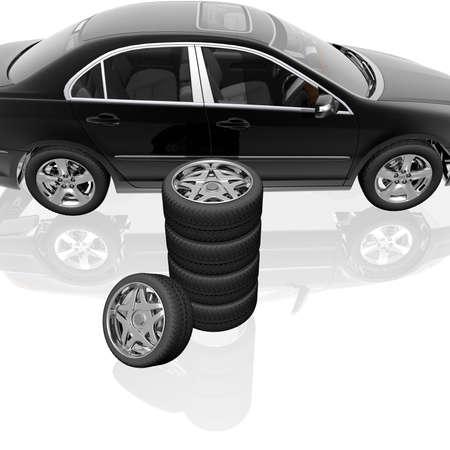 tire wheel concept 3D render Stock Photo - 6880440