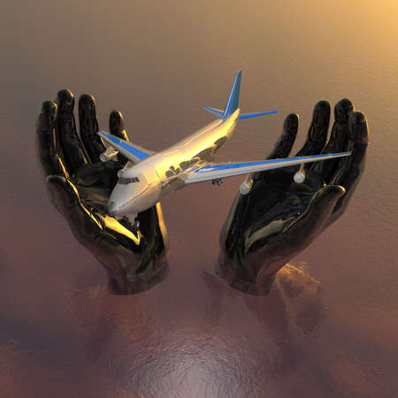 airliner in hands, safety flight in 3d photo