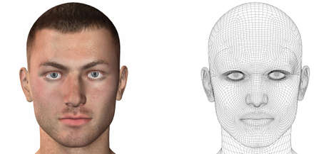 cyber men head with texture 3d render Stock Photo - 6881355