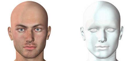 cyber men head with texture 3d render photo