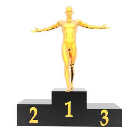 man on podium isolated on a white background Stock Photo - 6881326