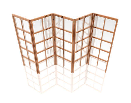 folding screens: Oriental folding screen isolated on a white in 3d