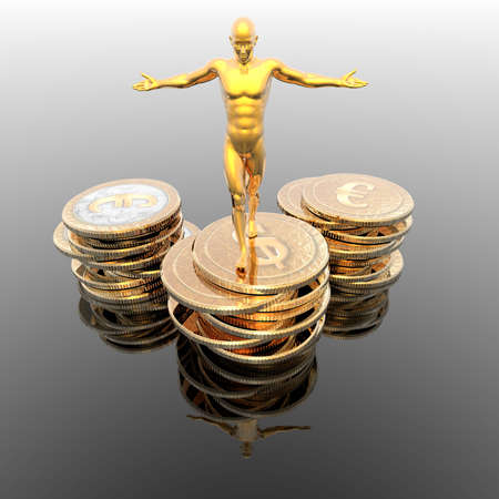 man on golden coins podium on a gray photo