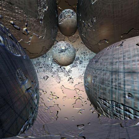 quantum: concept voor cyber space 3d computer weer geven  Stockfoto