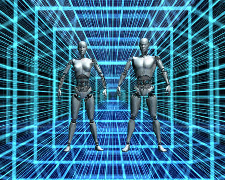 android, cybernetic intelligence machine in 3d Stock Photo - 6881401