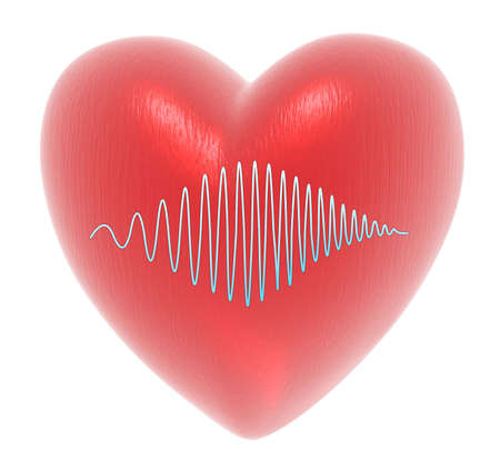 heart with monitor isolated on a white background photo