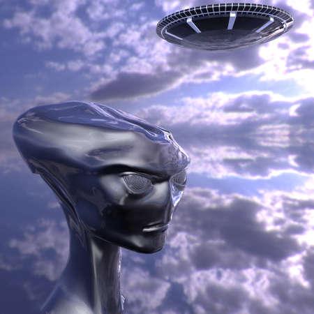 fantasy alien: alien portrait from Roswell computer 3d  render