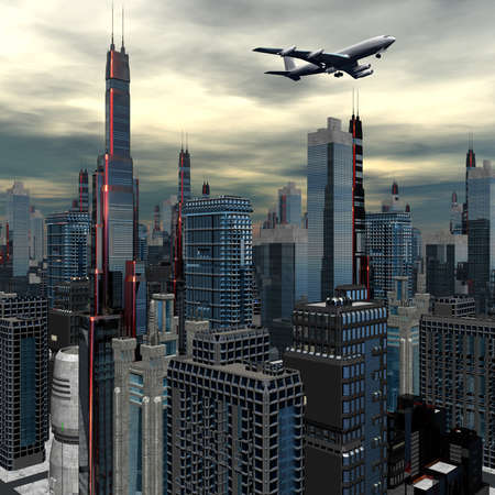 airliner silhouette above futuristic cityscape Banque d'images
