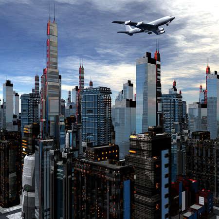 airliner silhouette above futuristic cityscape photo