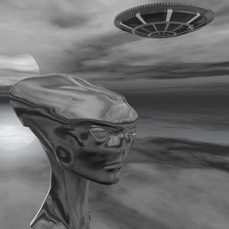 roswell: alien portrait from Roswell computer 3d  render