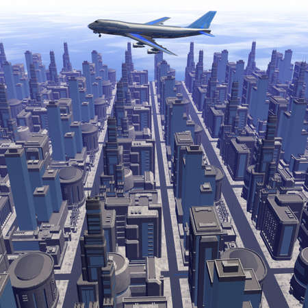 airliner silhouette above futuristic cityscape photo