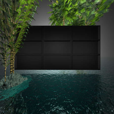 hdtv: video wall with blank screens and palms