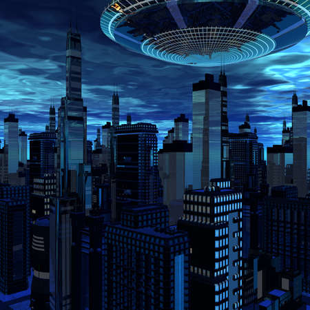 alien UFO space ship in skyscrapers landscape