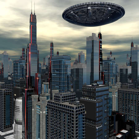 future city: alien UFO space ship in skyscrapers landscape