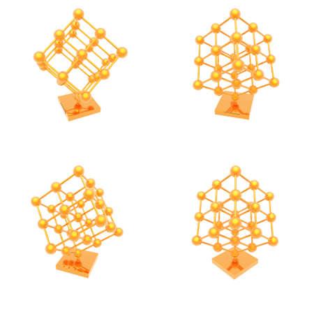 illustration with gold molecule isolated on white background Stock Illustration - 6984838