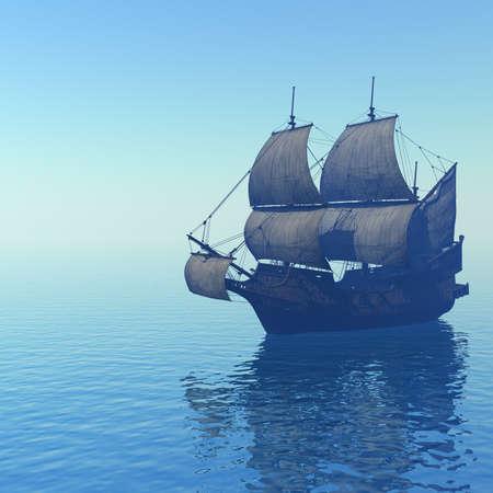 barco pirata: Velero en el mar  Foto de archivo