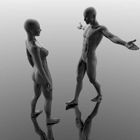 girl and boy in cyber 3d world photo