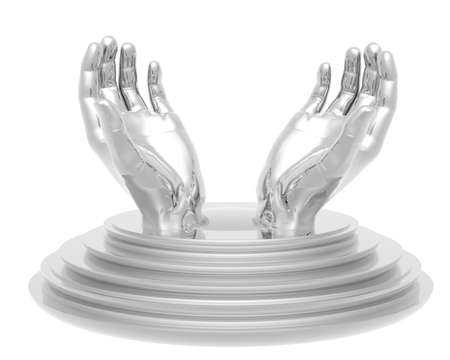 hands trophy cup isolated on a white background Stock Photo - 6984893
