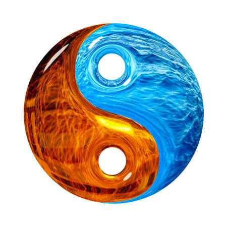 yang yin: S�mbolo Yin y Yang aislado en un fondo blanco