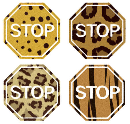 stop signs with animal fur isolated on a white photo