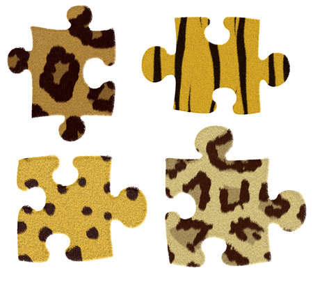 puzzle with animal fur isolated on a white Stock Photo - 6984922