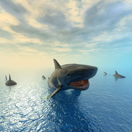 tiger shark swimming computer 3d render Stock Photo