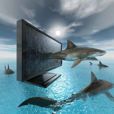 shark spring out of monitor in 3d Stock Photo - 7005518