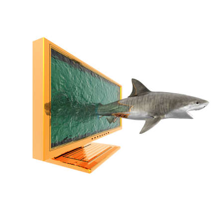 shark spring out of monitor in 3d photo