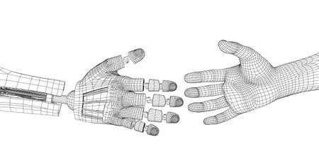 robot handshake isolated on a white background Banque d'images