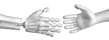 robot handshake isolated on a white background photo