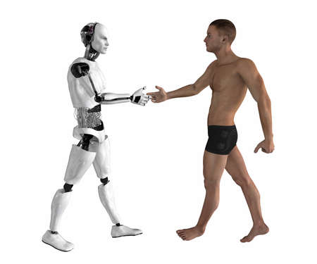 robot handshake isolated on a white background Stock Photo