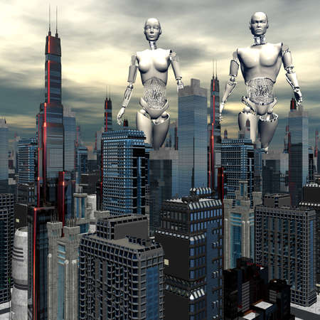 android, cybernetic intelligence machine in skyscrapers landscape photo
