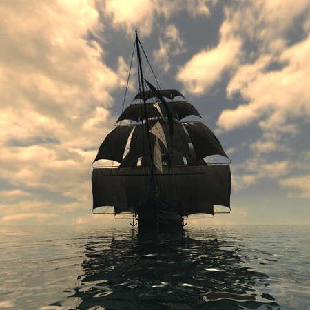 Segeln Schiff im Meer Standard-Bild