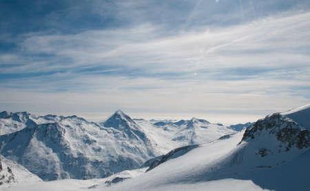 Saas Fee: Alpine Panorama from the top  3500 m  of Allalinhorn, Saas-Fee Stock Photo